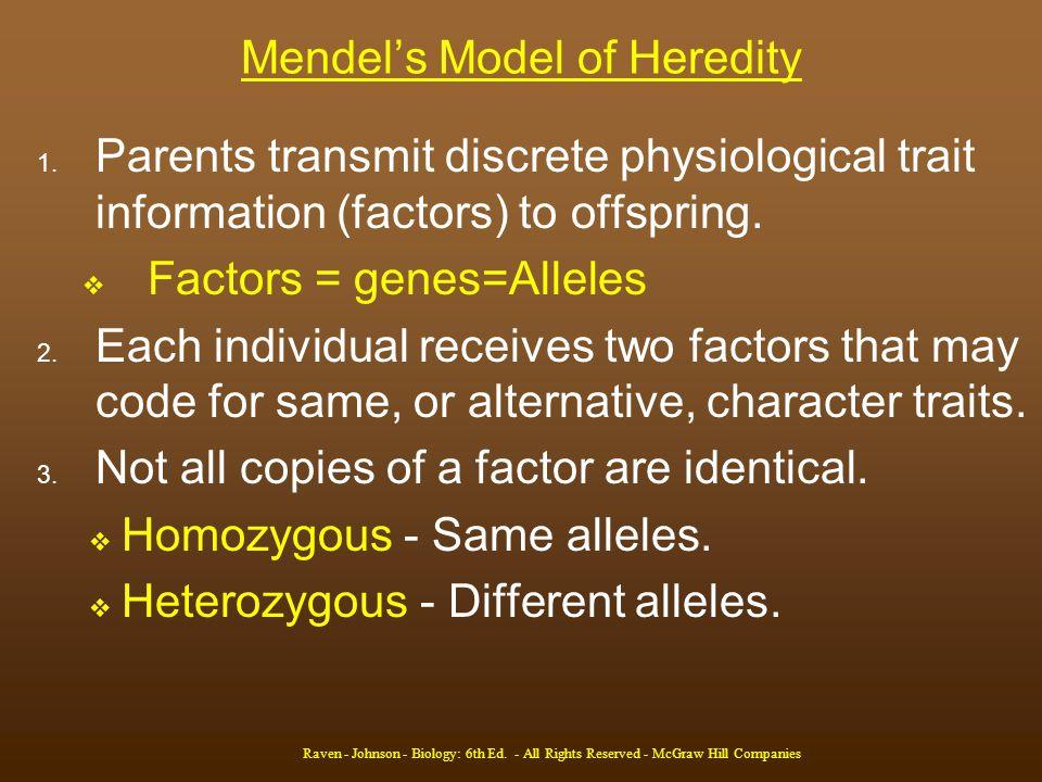 Mendel's Model of Heredity 1.