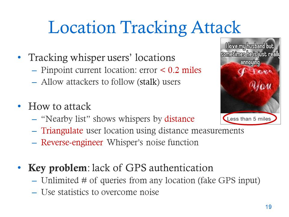 Location Tracking Attack Tracking whisper users' locations – Pinpoint current location: error < 0.2 miles – Allow attackers to follow (stalk) users Ho