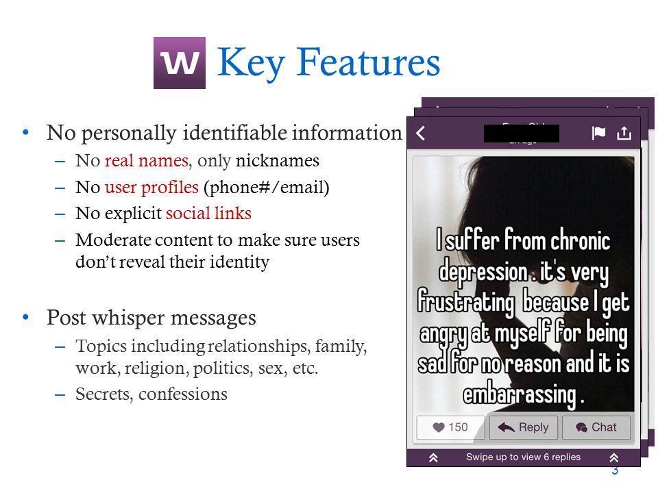 Key Features No personally identifiable information – No real names, only nicknames – No user profiles (phone#/email) – No explicit social links – Mod