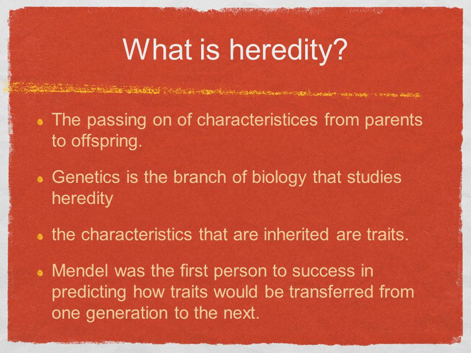 What is heredity. The passing on of characteristices from parents to offspring.