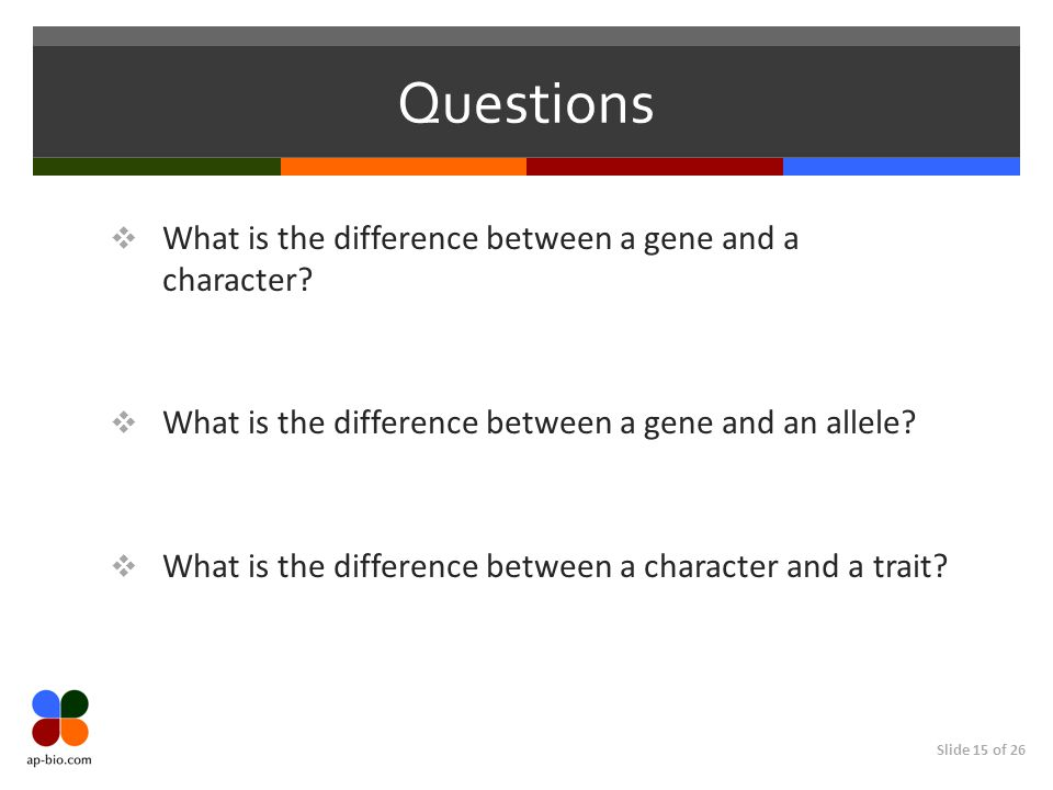 Slide 15 of 26 Questions  What is the difference between a gene and a character.