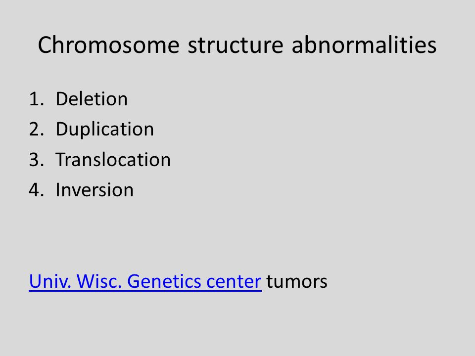 Chromosome structure abnormalities 1.Deletion 2.Duplication 3.Translocation 4.Inversion Univ.