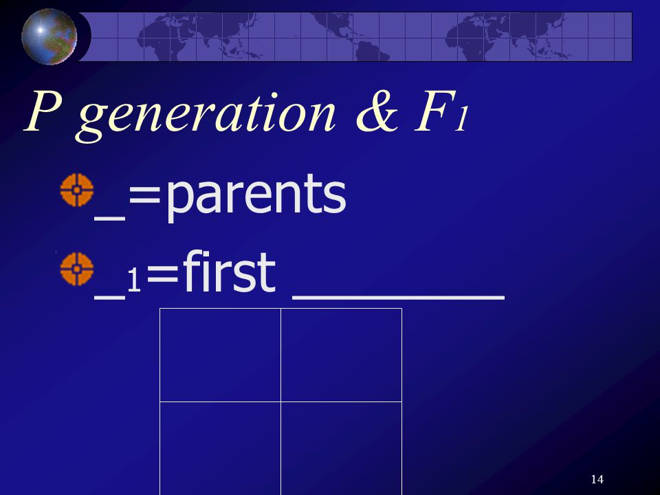 14 P generation & F 1 _=parents _ 1 =first _______