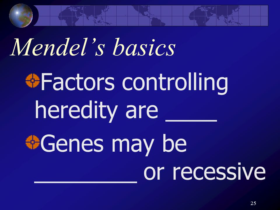 25 Mendel's basics Factors controlling heredity are ____ Genes may be ________ or recessive
