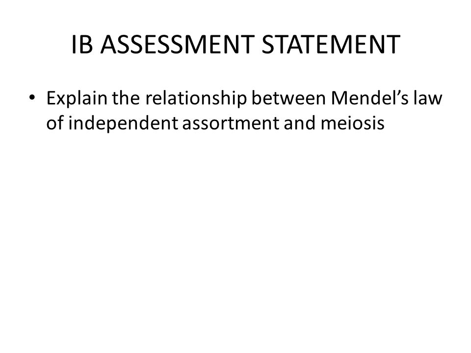 IB ASSESSMENT STATEMENT Explain the relationship between Mendel's law of independent assortment and meiosis