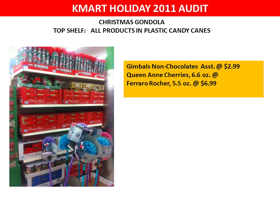 KMART HOLIDAY 2011 AUDIT CHRISTMAS GONDOLA TOP SHELF: ALL PRODUCTS IN PLASTIC CANDY CANES Gimbals Non-Chocolates Asst.
