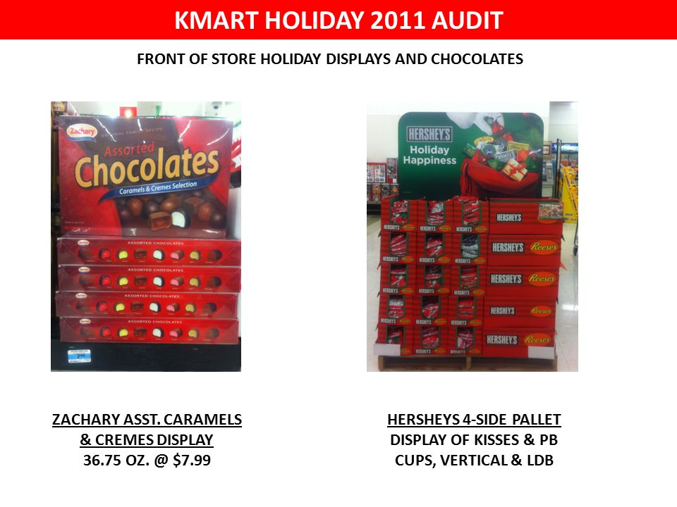 KMART HOLIDAY 2011 AUDIT FRONT OF STORE HOLIDAY DISPLAYS AND CHOCOLATES ZACHARY ASST.