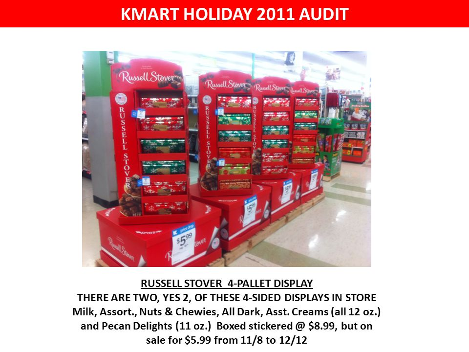 KMART HOLIDAY 2011 AUDIT RUSSELL STOVER 4-PALLET DISPLAY THERE ARE TWO, YES 2, OF THESE 4-SIDED DISPLAYS IN STORE Milk, Assort., Nuts & Chewies, All Dark, Asst.
