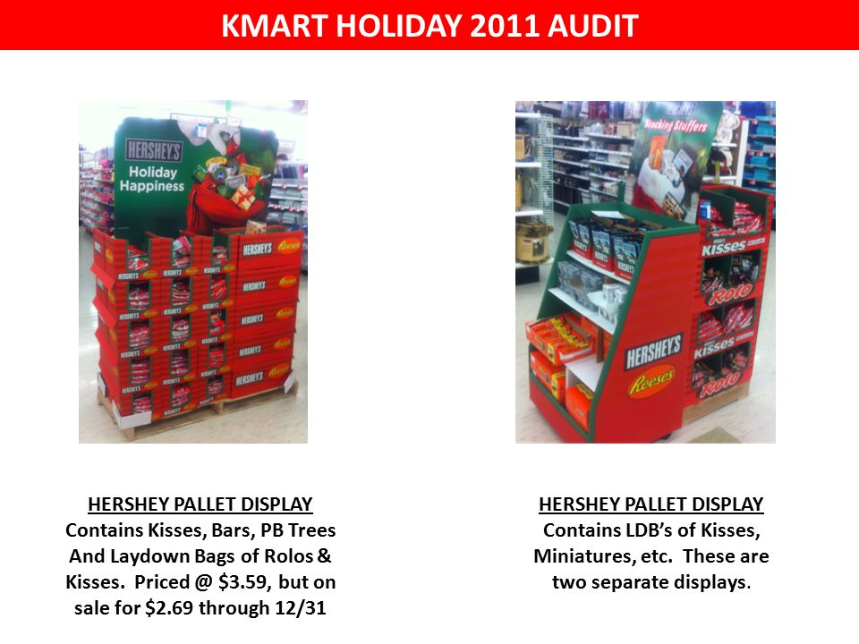 KMART HOLIDAY 2011 AUDIT HERSHEY PALLET DISPLAY Contains Kisses, Bars, PB Trees And Laydown Bags of Rolos & Kisses.