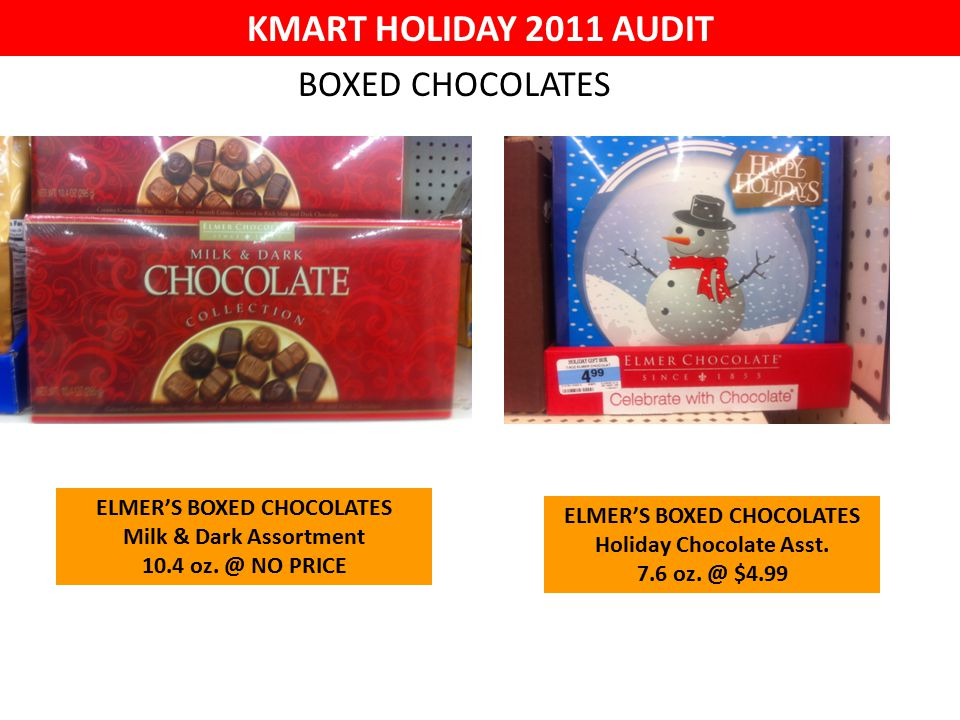 KMART HOLIDAY 2011 AUDIT ELMER'S BOXED CHOCOLATES Milk & Dark Assortment 10.4 oz.