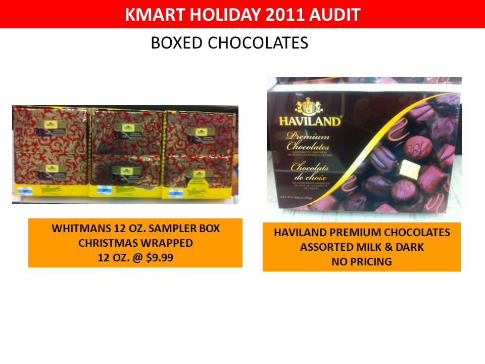 KMART HOLIDAY 2011 AUDIT WHITMANS 12 OZ. SAMPLER BOX CHRISTMAS WRAPPED 12 OZ.