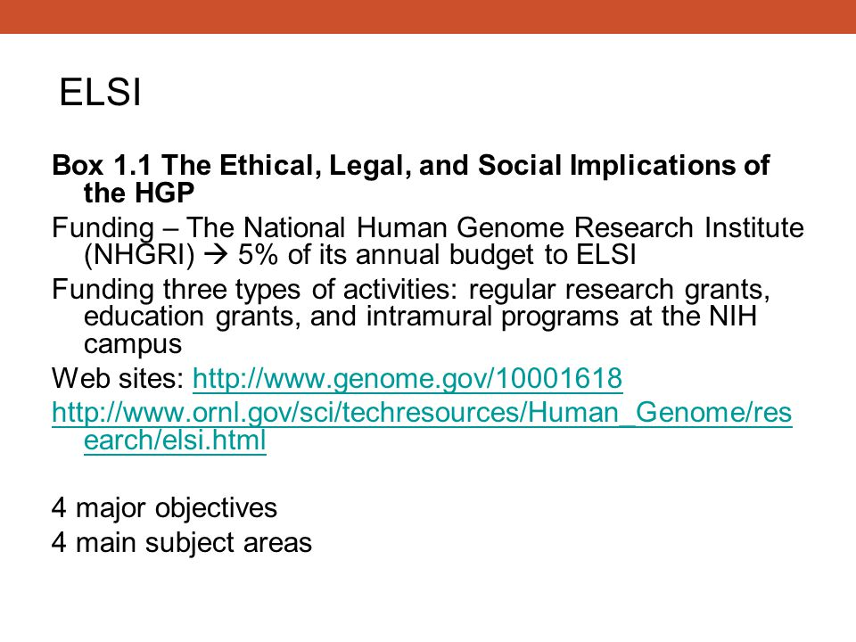 Box 1.1 The Ethical, Legal, and Social Implications of the HGP Funding – The National Human Genome Research Institute (NHGRI)  5% of its annual budge