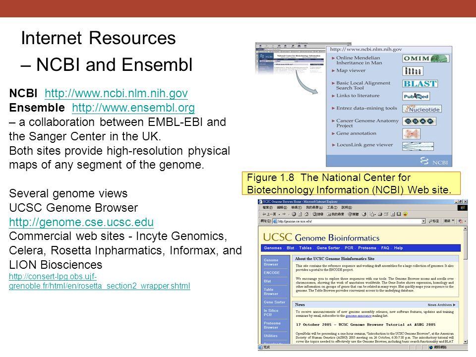 Figure 1.8 The National Center for Biotechnology Information (NCBI) Web site.