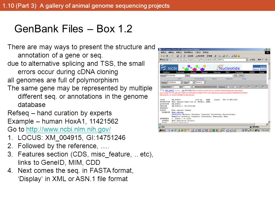 1.10 (Part 3) A gallery of animal genome sequencing projects GenBank Files – Box 1.2 There are may ways to present the structure and annotation of a g