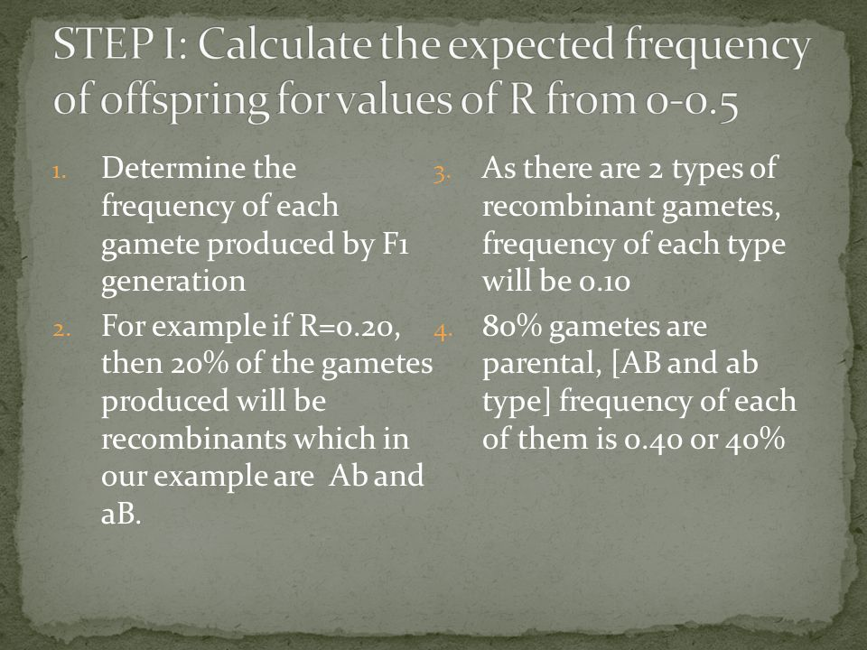 1. Determine the frequency of each gamete produced by F1 generation 2.