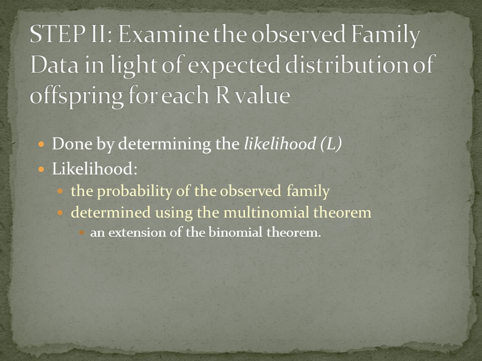 Done by determining the likelihood (L) Likelihood: the probability of the observed family determined using the multinomial theorem an extension of the
