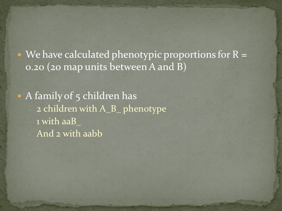 We have calculated phenotypic proportions for R = 0.20 (20 map units between A and B) A family of 5 children has - 2 children with A_B_ phenotype - 1 with aaB_ - And 2 with aabb