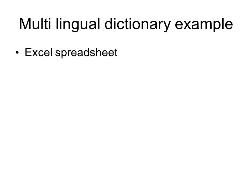 Multi lingual dictionary example Excel spreadsheet