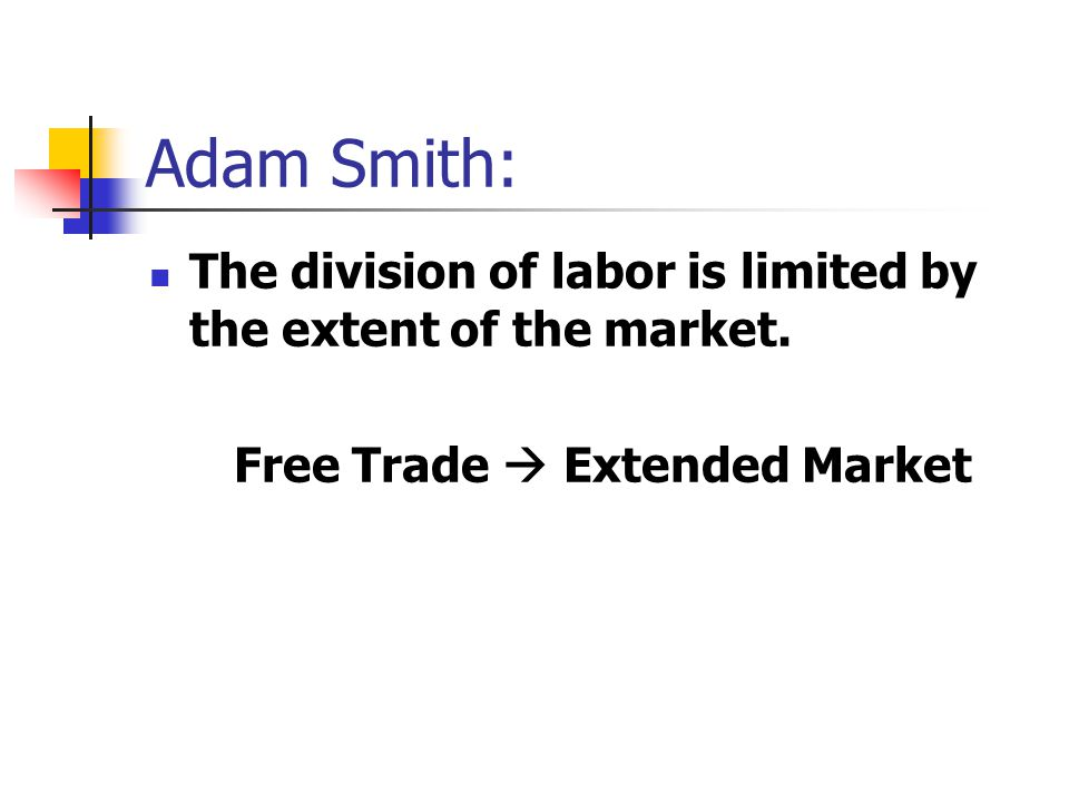 Adam Smith: The division of labor is limited by the extent of the market. Free Trade  Extended Market