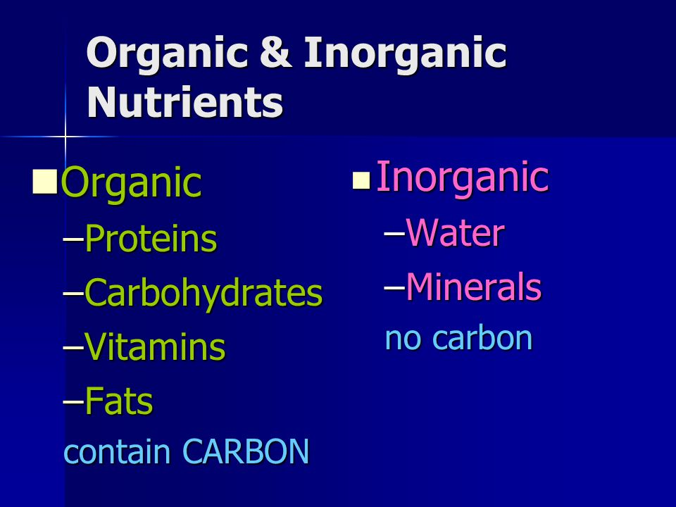 Organic & Inorganic Nutrients Organic Organic –Proteins –Carbohydrates –Vitamins –Fats contain CARBON Inorganic Inorganic –Water –Minerals no carbon