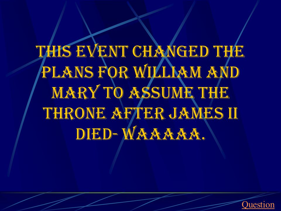 This event changed the plans for William and Mary to assume the throne after James II died- waaaaa.