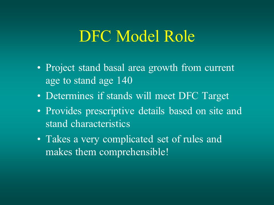 Desktop Analysis: Conclusions DFC model projected core+inner zone BA- 140 exceed rule targets, because The 57 iz ltpa (opt-1) almost always (95.3% of worksheets reviewed) required leaving more trees than the rule target alone The minimum floor widths (opt-2) usually (63% of worksheets reviewed) required leaving more trees than the rule target alone
