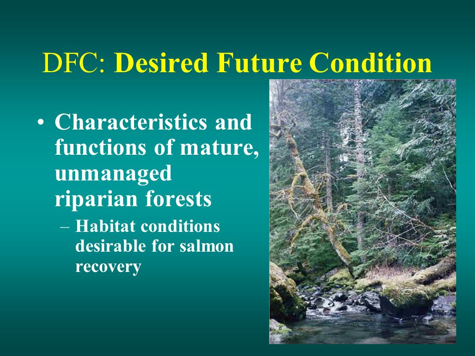 DFC: Desired Future Condition Characteristics and functions of mature, unmanaged riparian forests –Habitat conditions desirable for salmon recovery