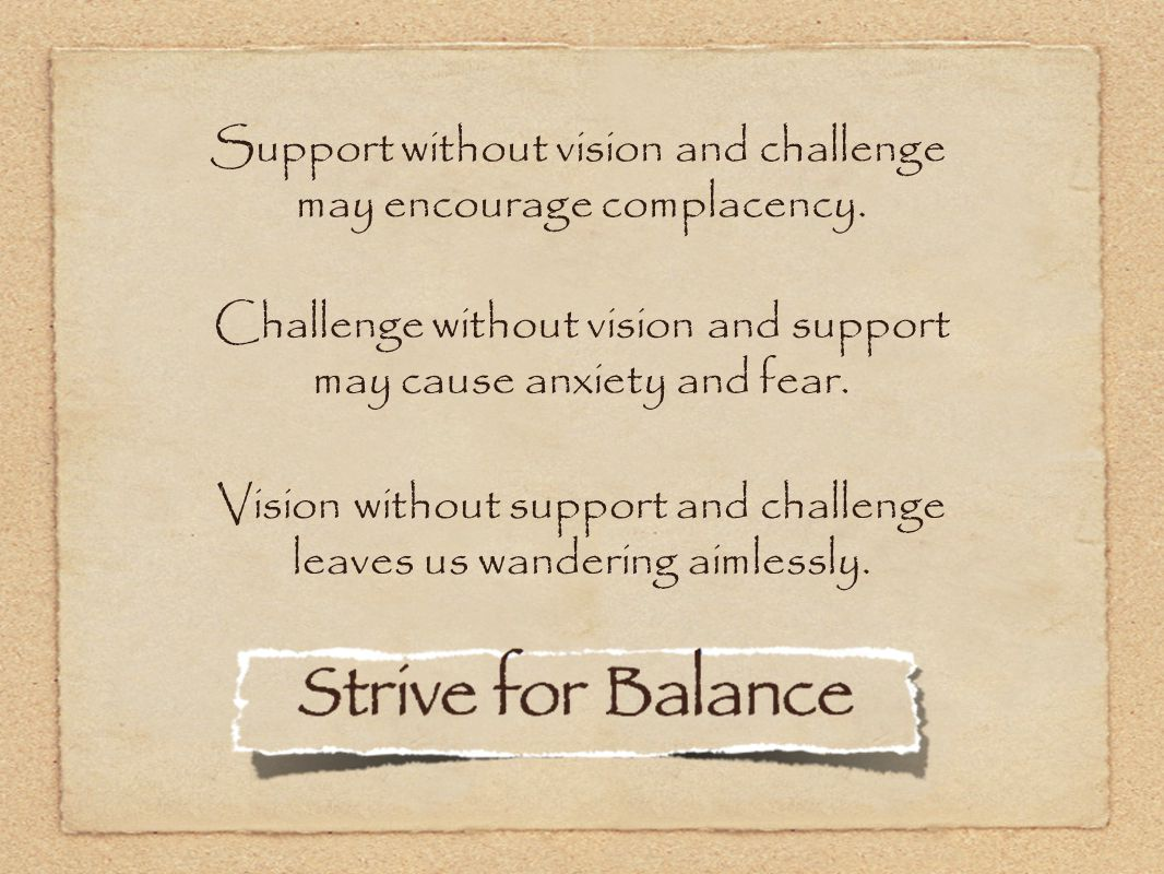 Support without vision and challenge may encourage complacency.