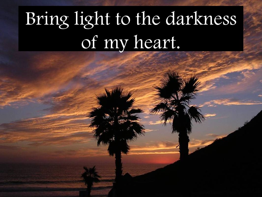 Bring light to the darkness of my heart.