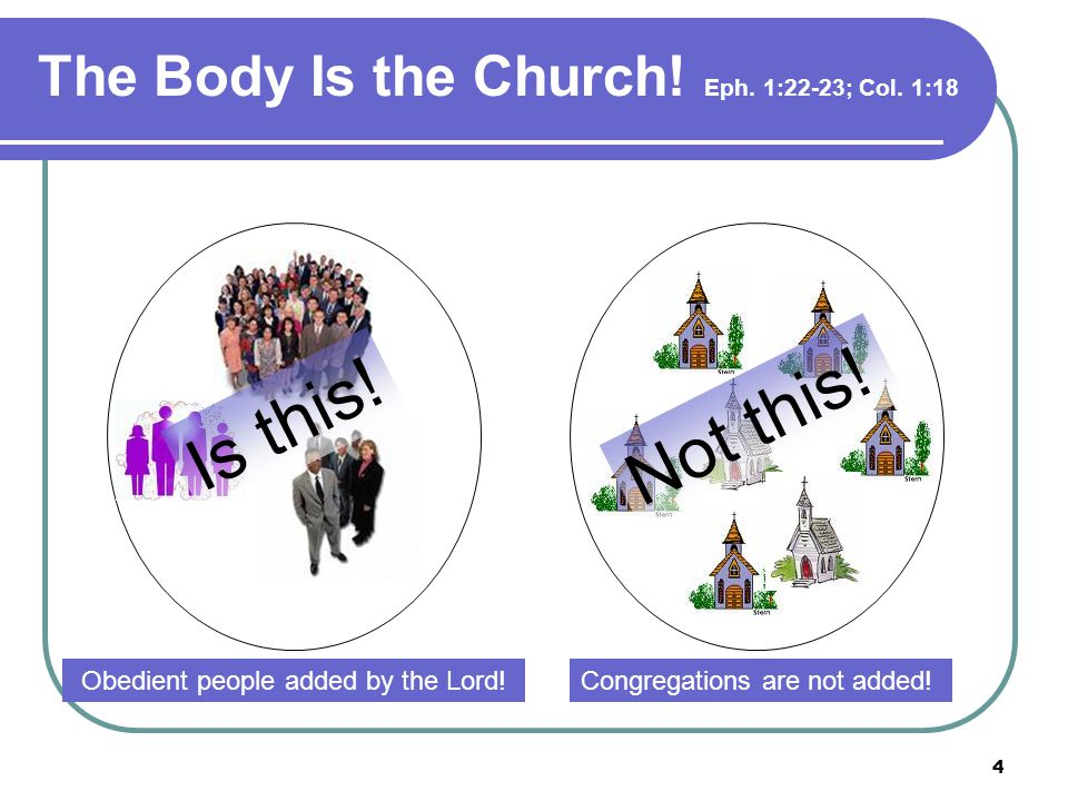 4 The Body Is the Church. Eph. 1:22-23; Col. 1:18 Obedient people added by the Lord.