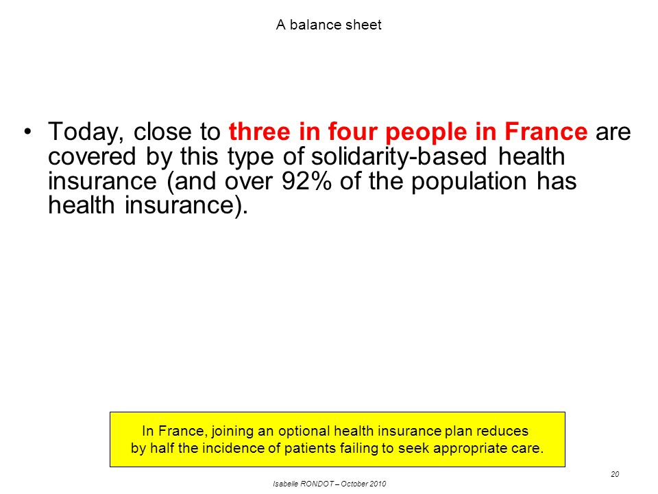 Isabelle RONDOT – October 2010 20 A balance sheet Today, close to three in four people in France are covered by this type of solidarity-based health insurance (and over 92% of the population has health insurance).
