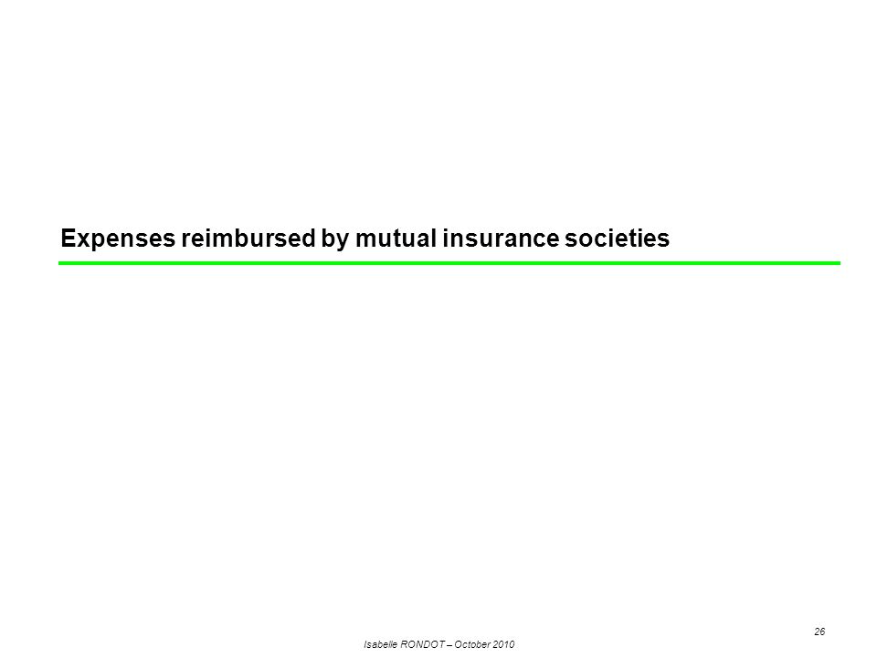 Isabelle RONDOT – October 2010 26 Expenses reimbursed by mutual insurance societies