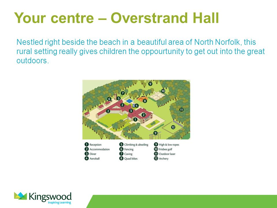 Your centre – Overstrand Hall Nestled right beside the beach in a beautiful area of North Norfolk, this rural setting really gives children the oppourtunity to get out into the great outdoors.