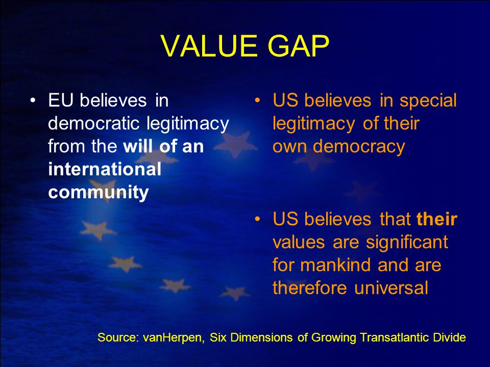VALUE GAP EU believes in democratic legitimacy from the will of an international community US believes in special legitimacy of their own democracy US