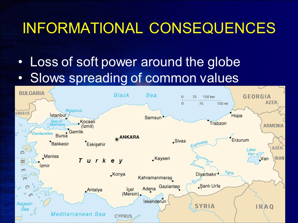 INFORMATIONAL CONSEQUENCES Loss of soft power around the globe Slows spreading of common values
