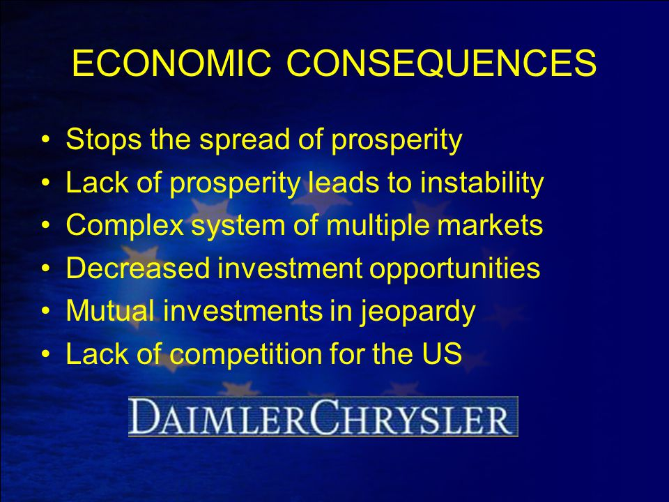 ECONOMIC CONSEQUENCES Stops the spread of prosperity Lack of prosperity leads to instability Complex system of multiple markets Decreased investment o
