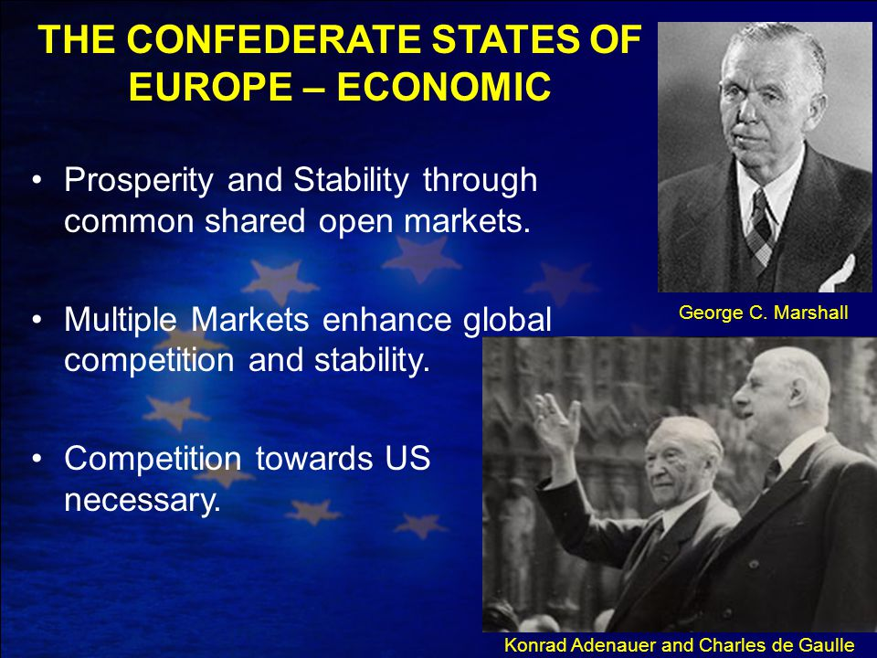 George C. Marshall Konrad Adenauer and Charles de Gaulle Prosperity and Stability through common shared open markets. Multiple Markets enhance global