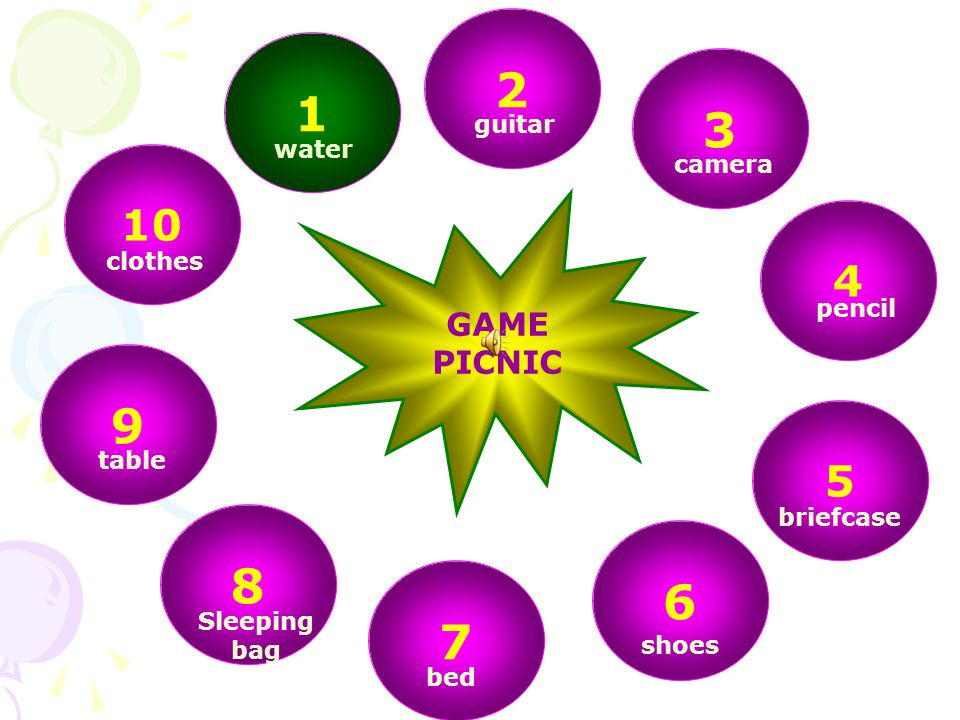 GAME: PICNIC Next week, I am going on a picnic and want to take some of you.