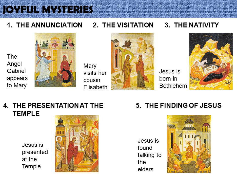 LUMINOUS MYSTERIES 1.THE BAPTISM OF JESUS John baptises Jesus in the river Jordan 2.THE MIRACLE AT CANA Jesus turns water into wine at a Wedding 3.JESUS PREACHING Jesus proclaims the coming of the Kingdom of God 4.THE TRANSFIGURATION Jesus in glory on mount Tabor with Moses and Elijah 5.THE EUCHARIST Jesus gives us himself at the Last supper