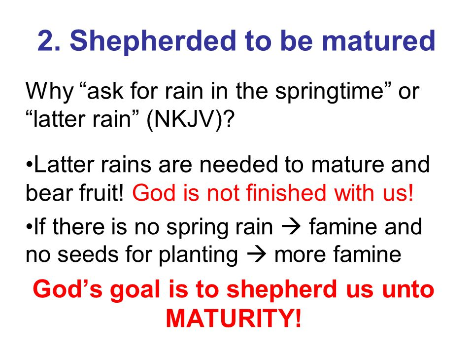 "2. Shepherded to be matured Why ""ask for rain in the springtime"" or ""latter rain"" (NKJV)? Latter rains are needed to mature and bear fruit! God is not"