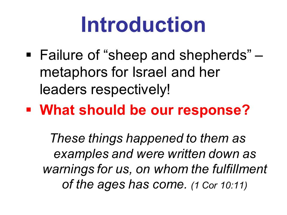 "Introduction  Failure of ""sheep and shepherds"" – metaphors for Israel and her leaders respectively!  What should be our response? These things happe"