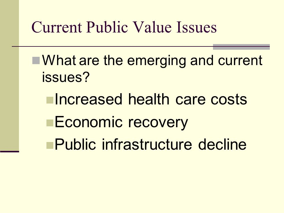Current Public Value Issues What are the emerging and current issues.