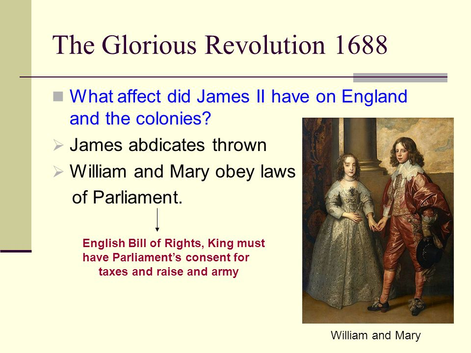 The Glorious Revolution 1688 What affect did James II have on England and the colonies.