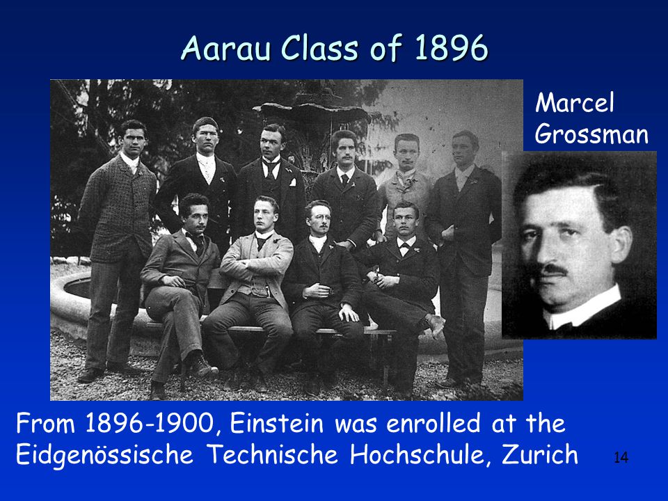 14 Aarau Class of 1896 From 1896-1900, Einstein was enrolled at the Eidgenössische Technische Hochschule, Zurich Marcel Grossman