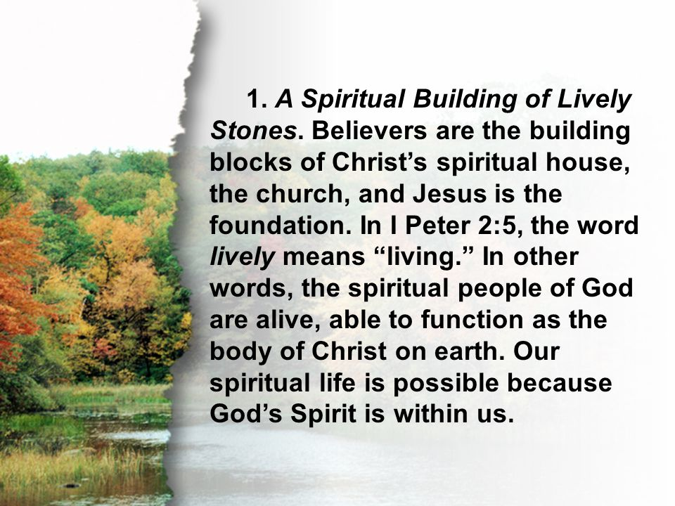 Acts 2:39 1. A Spiritual Building of Lively Stones. Believers are the building blocks of Christ's spiritual house, the church, and Jesus is the founda