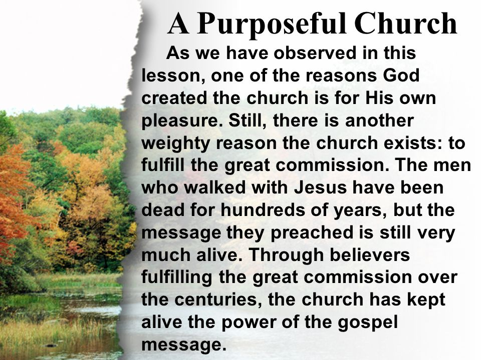 III. A Purposeful Church A Purposeful Church As we have observed in this lesson, one of the reasons God created the church is for His own pleasure. St