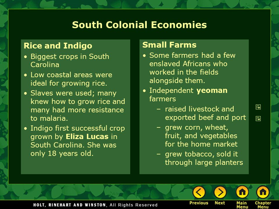 South Colonial Economies Rice and Indigo Biggest crops in South Carolina Low coastal areas were ideal for growing rice. Slaves were used; many knew ho