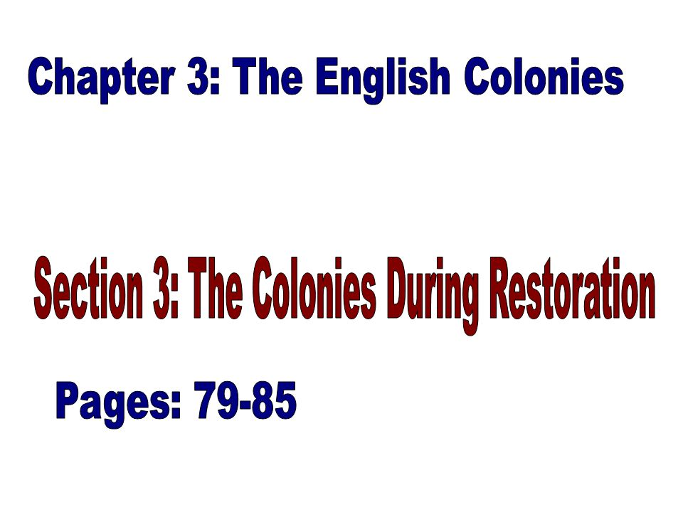 THE CAROLINAS: –King Charles II restored Monarchy in England Restoration: another wave of Colonization began when King Charles II rewarded his supporters with grants of land He received a Charter for Colony and named it Carolina – which is Latin for Charles Later the Colony was divided between North and South Carolina The Carolinas attracted many different ethnicities: Jews, Germans, Scots, etc.