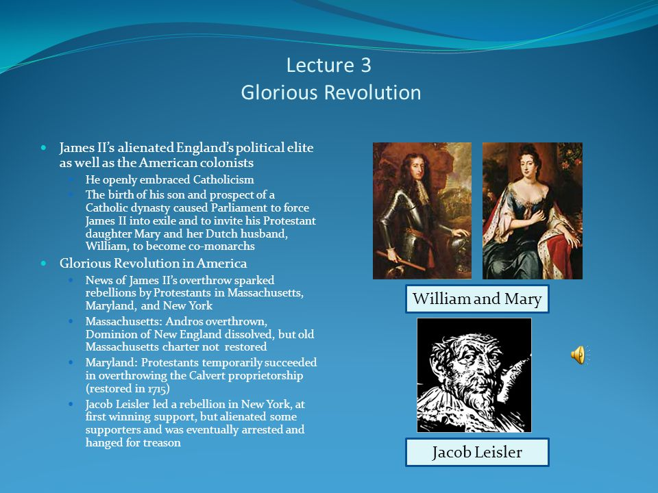 Lecture 3 England Tightens its Grip Mercantilism Prevailing economic doctrine of the 17 th and 18 th century Believed countries must tightly control international trade to benefit from it Navigation Acts A series of trade regulations imposed starting in 1651 aimed at forcing English colonies to trade exclusively with England and its colonies These laws often ignored by American colonists Political Centralization Massachusetts Charter revoked in 1684 Dominion of New England: James II consolidateds New England colonies and New York into authoritarian government under Edmund Andros (with no representative legislature) Charles IIJames II Edmund Andros