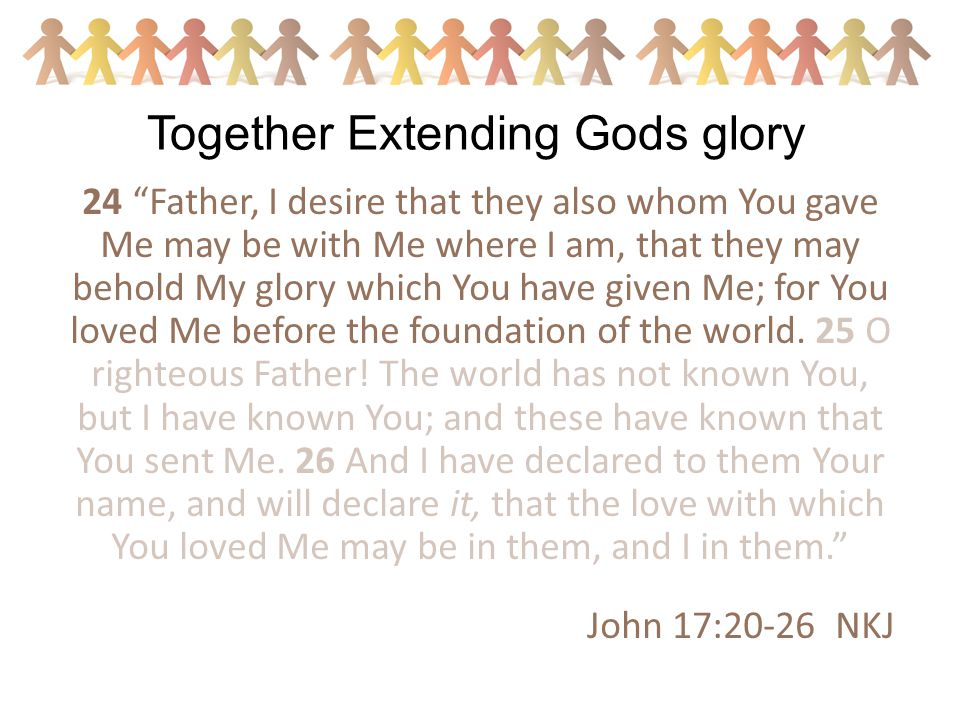 24 Father, I desire that they also whom You gave Me may be with Me where I am, that they may behold My glory which You have given Me; for You loved Me before the foundation of the world.
